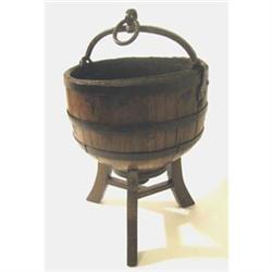 ANTIQUE WOOD WELL BUCKET W STAND #2376638