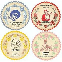 4 VINTAGE COMIC CARTOON COASTERS / 1940S POPEYE#2376650