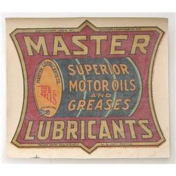 VINTAGE MASTER LUBRICANTS GREASE DECAL SIGN / #2376651
