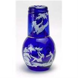 CUT OVERLAY COBALT BLUE GLASS NIGHT SET  #2376668