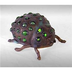 ART DECO GREEN GLASS DOT LADYBUG LAMP #2376675