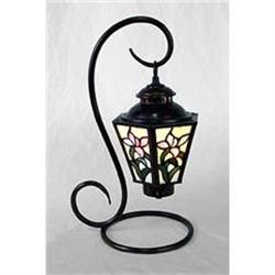 GLASS PANELED FLORAL PARLOR LAMP / NEW #2376679