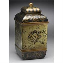 NEW PORCELAIN BURNISHED GOLD PAINTED JAR W LID #2376689