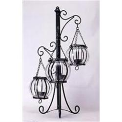 METAL CANDLE HOLDER W THREE GLASS GLOBES #2376698