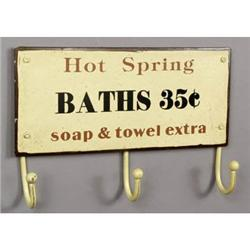 HOT SPRINGS BATH METAL SIGN W HOOKS / BATHROOM #2376709