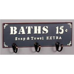 HOT SPRINGS BATH METAL SIGN W HOOKS / BATHROOM #2376710