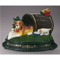 CAST IRON PAINTED DOG DOOR STOP #2376720