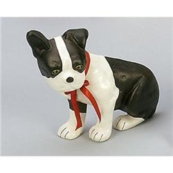 CAST IRON PAINTED BOSTON TERRIER DOG DOOR STOP #2376721