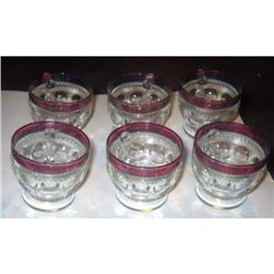 OLD Cranberry Kings Crown thumbprint GLASSES #2376723
