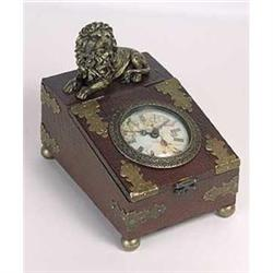 LION WOOD CLOCK BOX / NEW #2376725