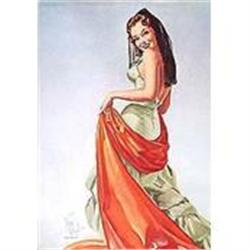 VINTAGE SENORITA SPANISH GIRL  ART LITHO PRINT #2376729