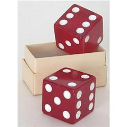 JUMBO BAKELITE DICE RED DICE TOY IN BOX #2376737