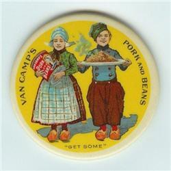 old vintage CELLULOID VAN CAMP'S AD MIRROR #2376794