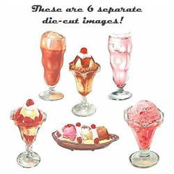 6 vintage Die Cut Ice Cream Image Signs  #2376834
