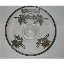 old ANNIVERSARY Silver Flower GLASS BOWL plate #2376876