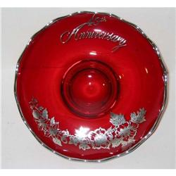 old ANNIVERSARY red Flower Glass BOWL PLATE #2376877