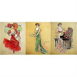 3 old vintage VICTORIAN LITHO PRINTS * SPECIAL #2376887