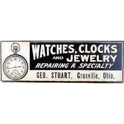 VINTAGE GRANVILLE OH WATCH JEWELRY SIGN  #2376948