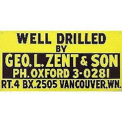 OLD VINTAGE METAL WELL DRILLED SIGN VANCOUVER #2376953