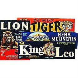 20 VINTAGE LION CRATE LABELS #2376959