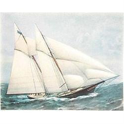 6 OLD VINTAGE YACHT SHIPS LITHOGRAPH PRINTS #2376992