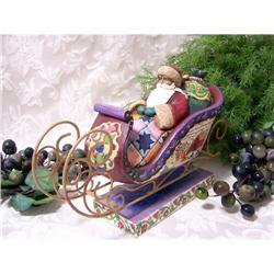 JIM SHORE SANTA CLAUS SLEIGH STATUE  * ENESCO #2377044