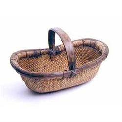 ANTIQUE WILLOW KIDNEY BASKET * OLD VINTAGE #2377066