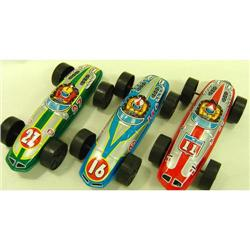 3 VINTAGE TIN LITHO RACE CAR TOYS JAPAN #2377067