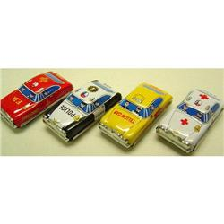 4 VINTAGE TIN LITHO EMERGENCY VEHICLE TOY CARS #2377068
