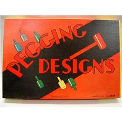 VINTAGE WOOD PEGGING DESIGNS BOARD GAME 1940S #2377070