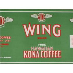 5 VINTAGE WING HAWAII KONA COFFEE LABELS / #2377083