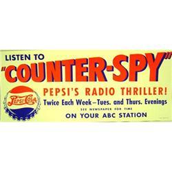 VINTAGE PEPSI COLA SODA RADIO SPY POSTER SIGN #2377097