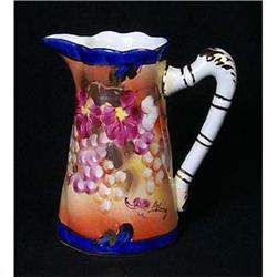 PORCELAIN WATER PITCHER NEW / GRAPES FLORAL #2377188