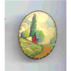 SALE Handpainted Scene  vintage pin #2377403