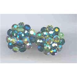 SALE Signed  Blue Green Earrings     Vogue #2377408