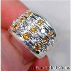 Faceted Citrine Sterling Band Ring~size7 #2377443