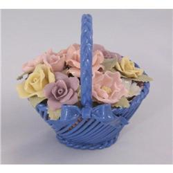Beautiful Vintage Capodimonte Roses Blue Basket#2377460