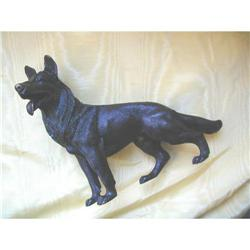 LARGE BRONZE GERMAN SHEPARD SCULPTURE 12  LONG #2377480