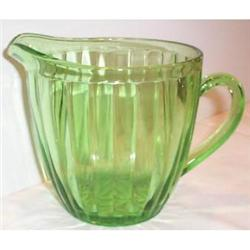 Green Ribbed Hazel Atlas Depression Pitcher #2377487
