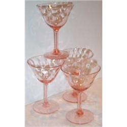 Four Pink Depression Glass Optic Sherbets #2377492