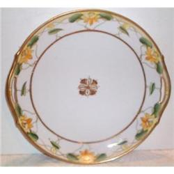 Hand Painted Nippon Lotus Cake Plate #2377498