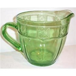 Green Doric  32 ounce Depression Glass Pitcher #2377502