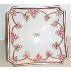 Hand Painted Rose Nippon Footed Bowl #2377507