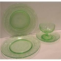 Green Cloverleaf Plates, saucer, Sherbet #2377511