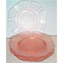 Six Pink American Sweetheart Sherbet Plates #2377515