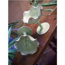 Pair of Art Nouveau Celadon Comports #2377535
