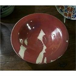 Fabulous Red Glazed Stoneware Bowl  #2377539