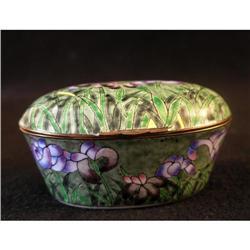 Enamel and Bronze Iris Trinket Box #2377559