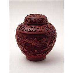 Vintage Carved Lacquer Ginger Jar  #2377562