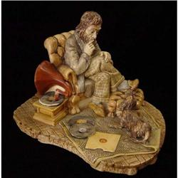 English Ceramic Figurine of Music Lover and Dog#2377563